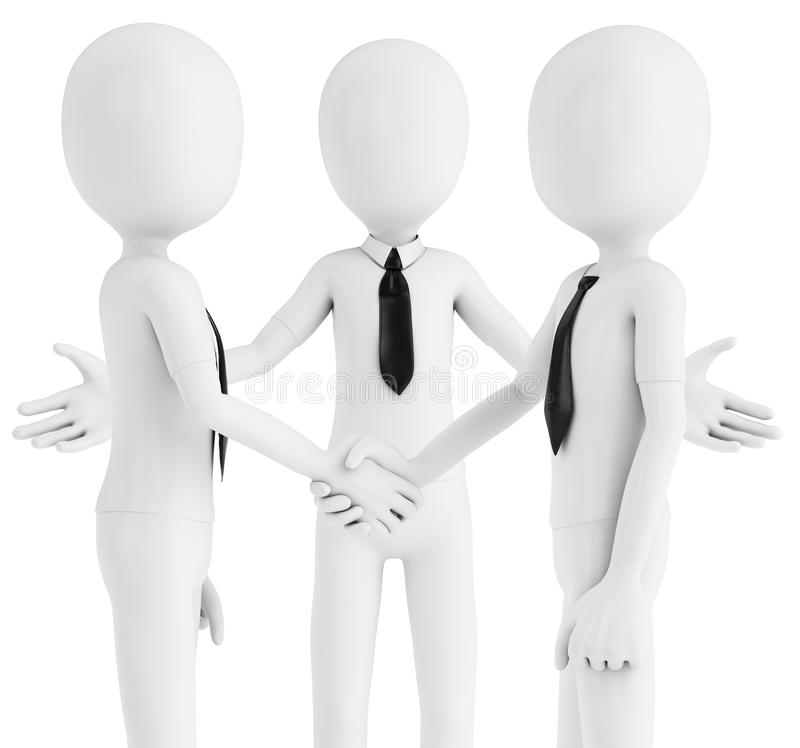 3d business man shaking hands meeting new people stock illustration