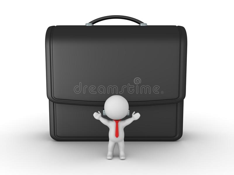 3D Business man standing in front of a giant briefcase royalty free illustration