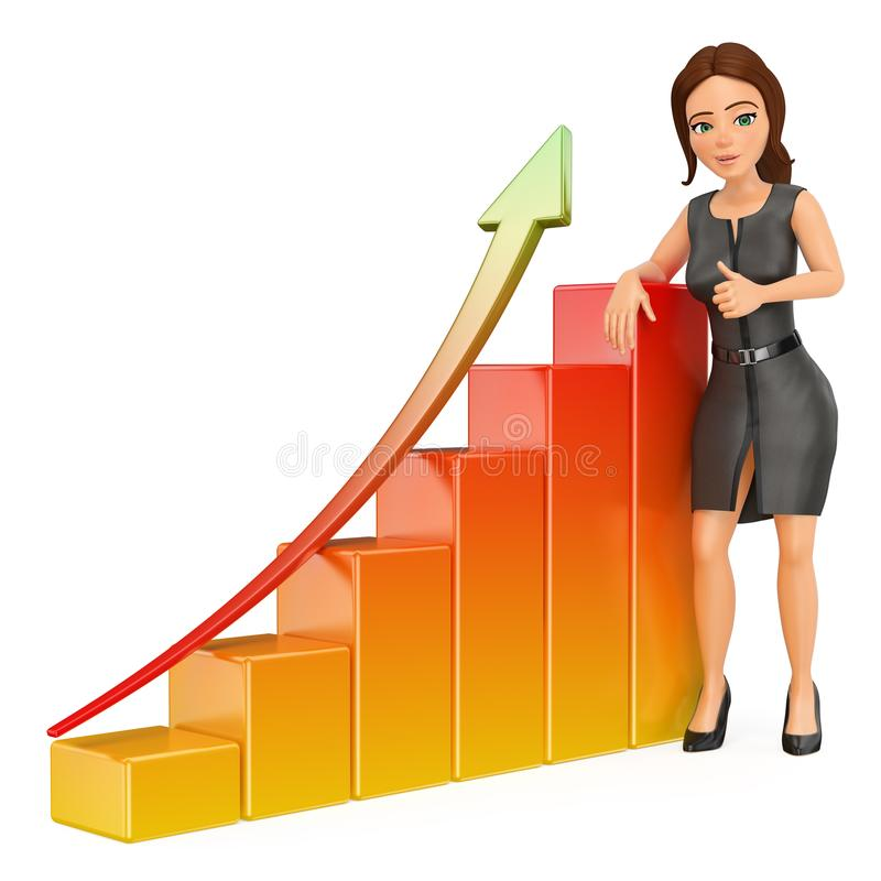 3D Business woman leaning on a bar graph. Economy stock illustration