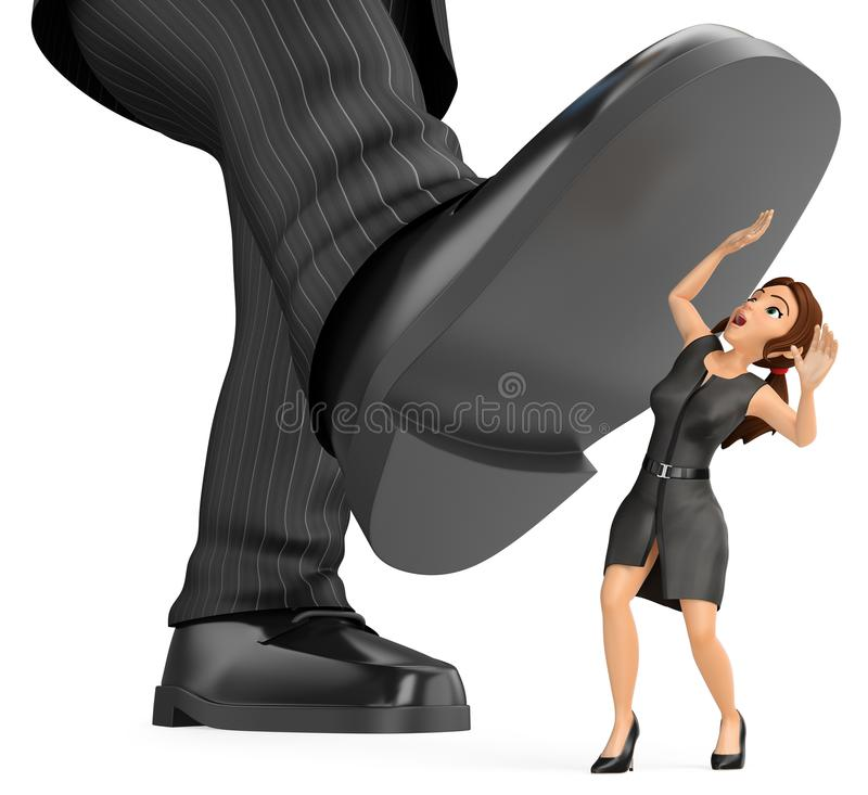 3D Business woman under a giant foot of man. Gender inequality vector illustration
