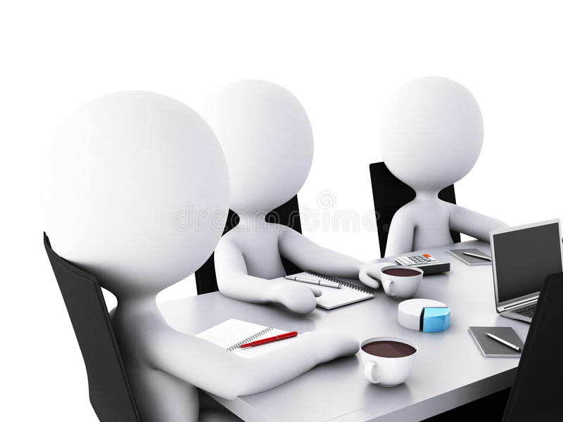 3d Business people in a Office meeting room. vector illustration