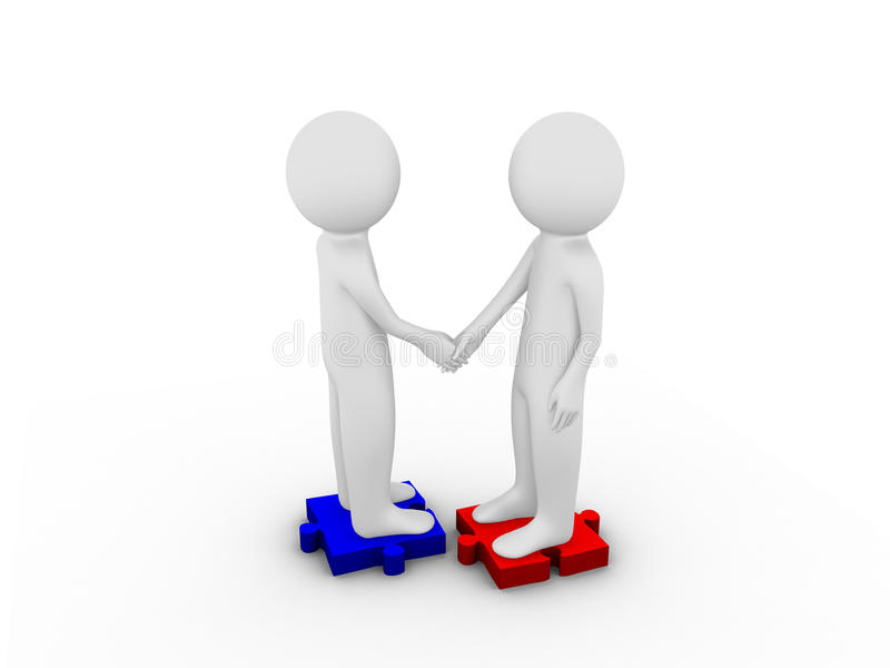 3d business people standing on the puzzle and make a handshake stock illustration