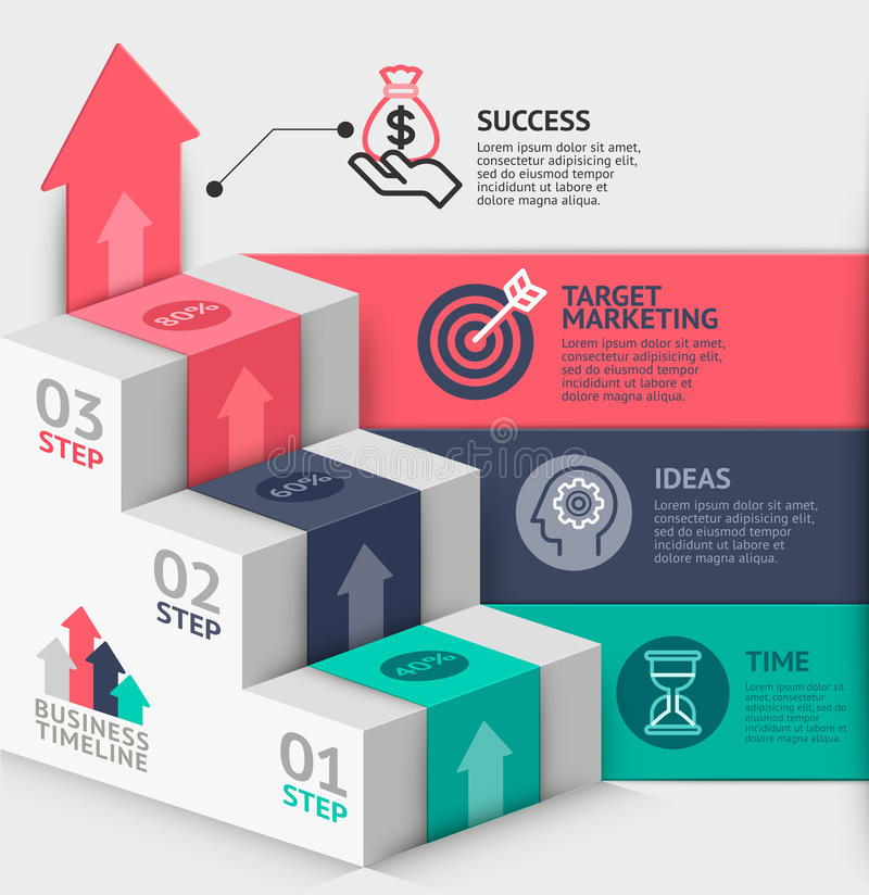 3d business staircase diagram template. Vector illustration. can be used for workflow layout, banner, number options, step up options, web design, infographics stock illustration