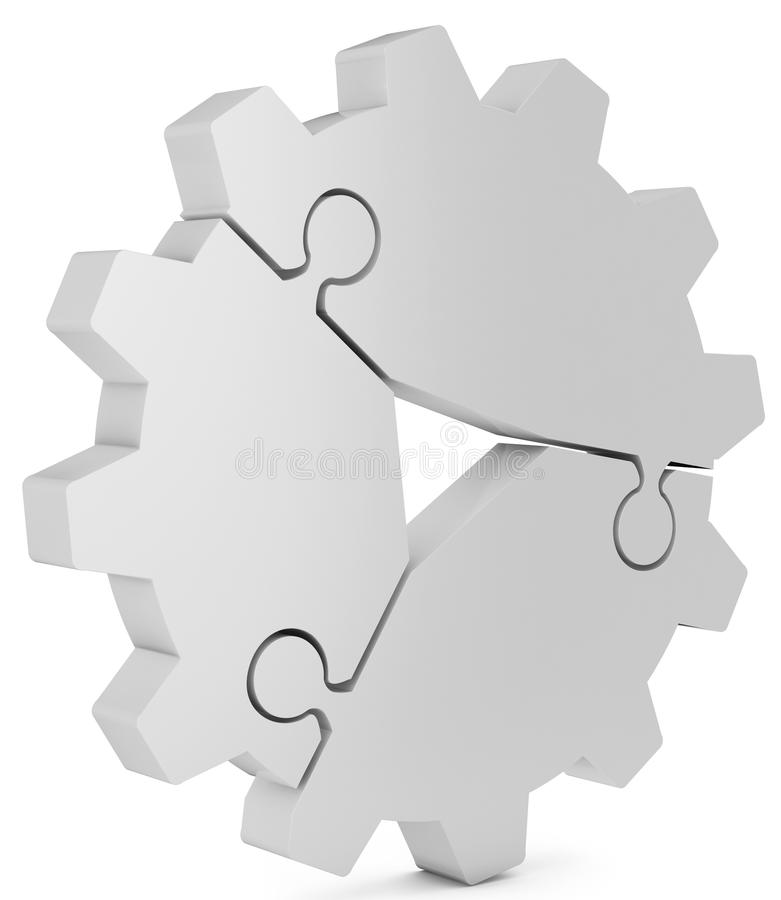 3d business teamwork, partnership and success concept gear from puzzle pieces. On white background stock illustration