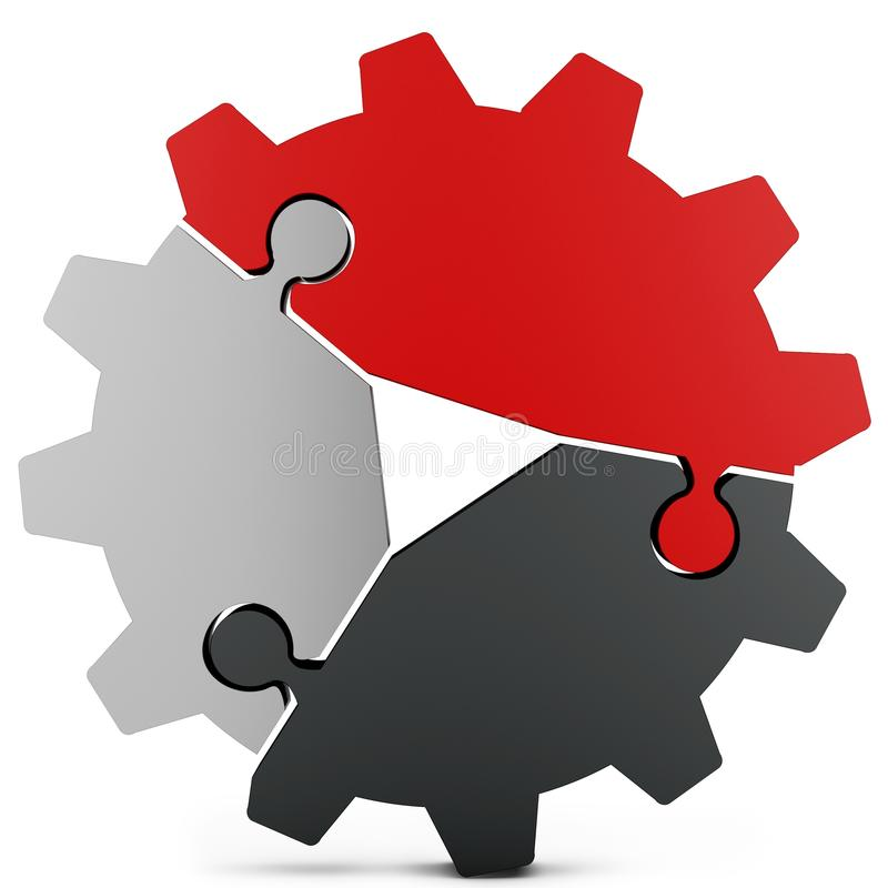 3d business teamwork, partnership and success concept gear from puzzle pieces. On white background vector illustration