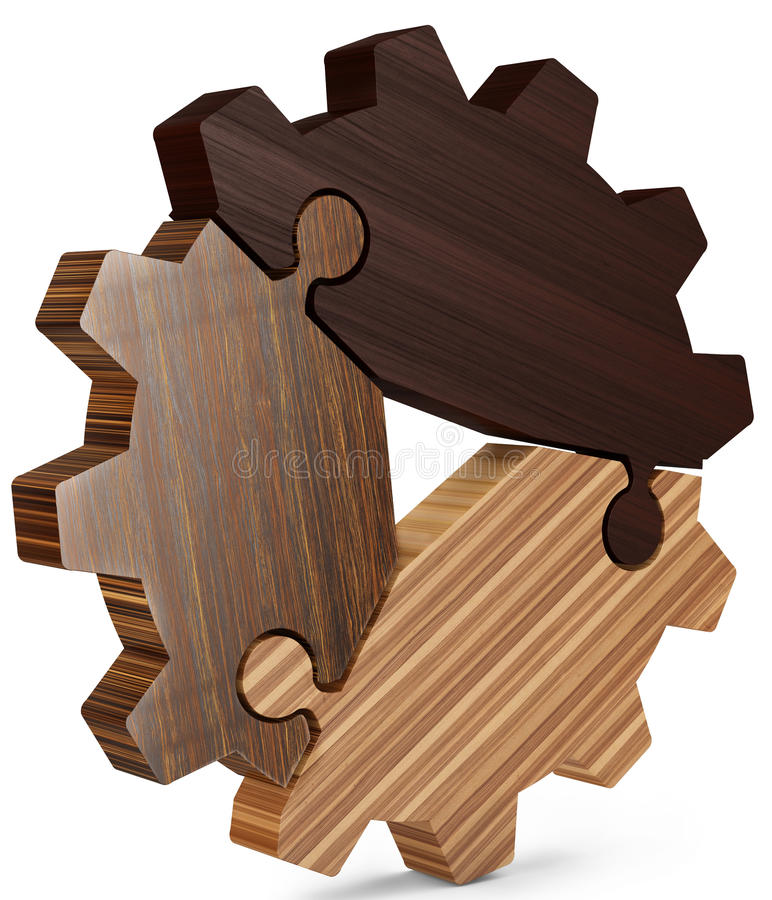 3d business teamwork, partnership and success concept gear from puzzle pieces. 3d business teamwork, partnership and success concept wood gear from puzzle pieces royalty free illustration