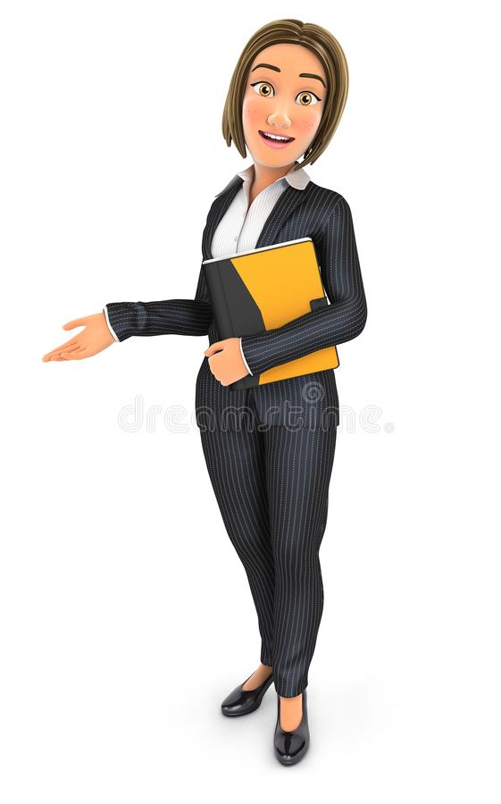 3d business woman holding folder and showing white copy space. Illustration with isolated white background vector illustration