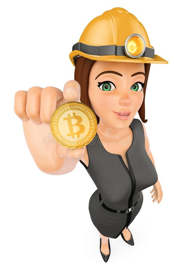 3D Business woman mining a cryptocurrency bitcoin. 3d business people illustration. Businesswoman with hard helmet mining a cryptocurrency bitcoin. White stock illustration