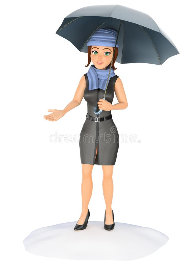 3D Business woman protecting herself from the rain with an umbrella royalty free illustration