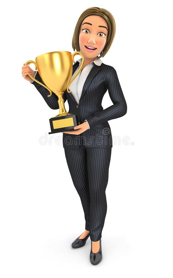 3d business woman standing with gold trophy cup royalty free illustration