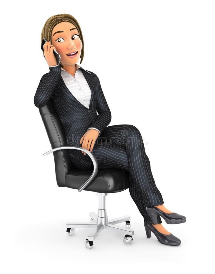 3d business woman talking on phone stock illustration