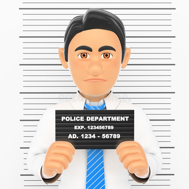 3D Businessman arrested. White collar criminal police photo stock illustration