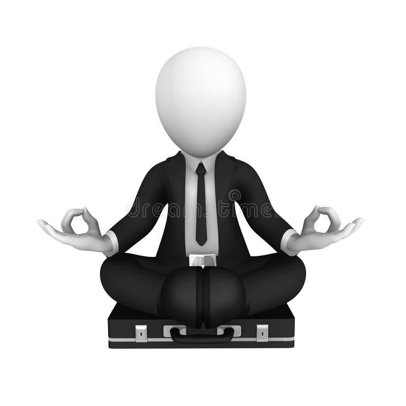 3d businessman in black suite in lotus pose, meditation vector illustration