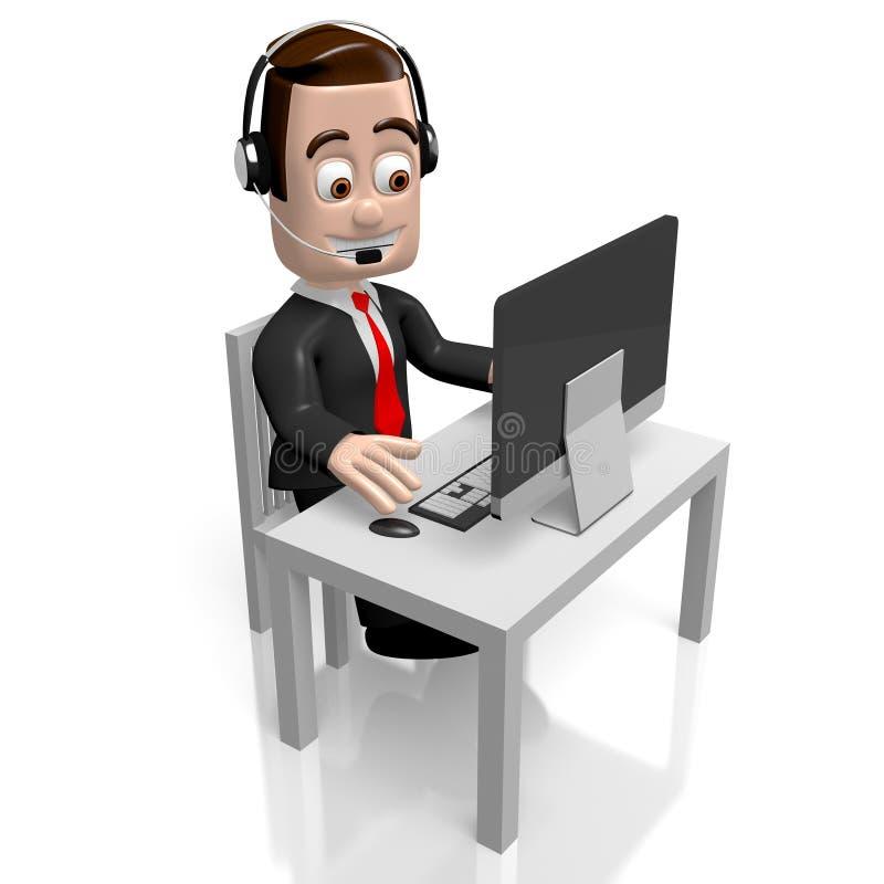 3D businessman - call center concept stock illustration