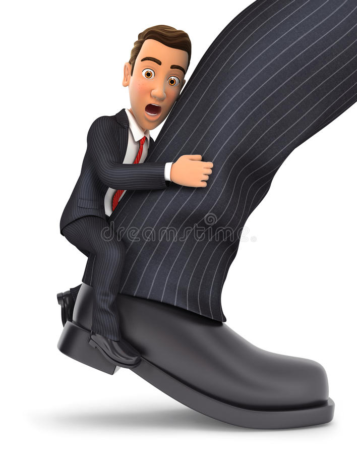 3d businessman clinging to leg. Illustration with isolated white background stock illustration