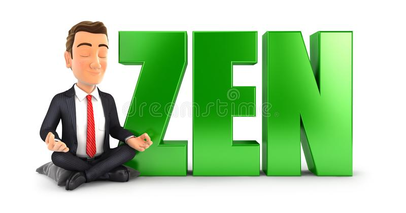 3d businessman doing meditation next to the word zen. Illustration with isolated white background royalty free illustration