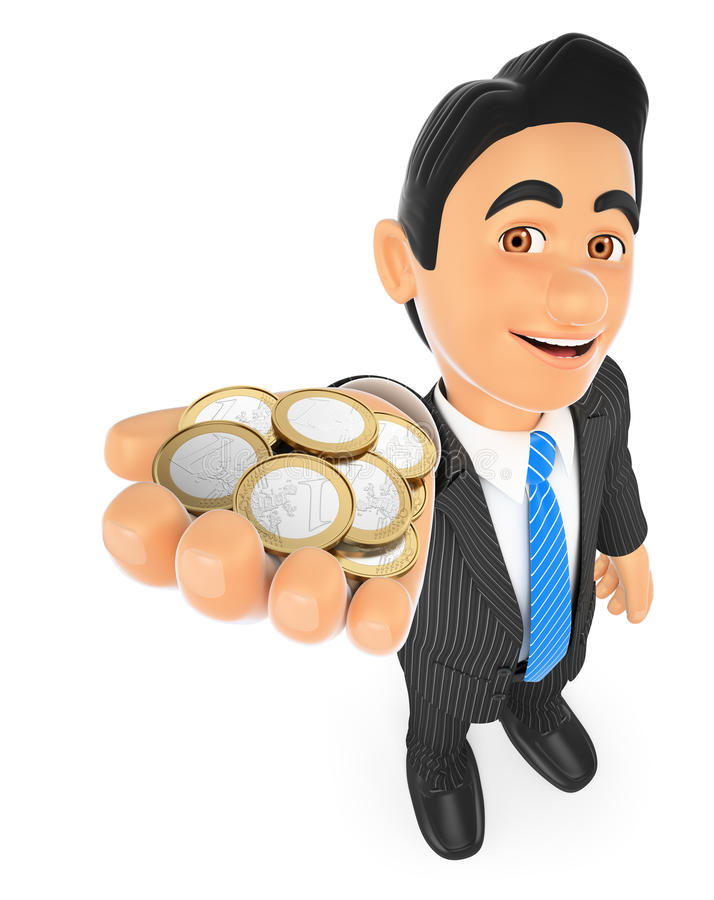 3D Businessman with euro coins. 3d business people. Businessman with euro coins. White background vector illustration