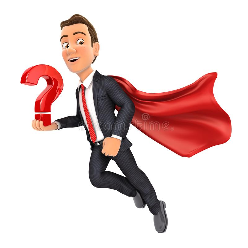 3d businessman flying and holding question mark royalty free illustration