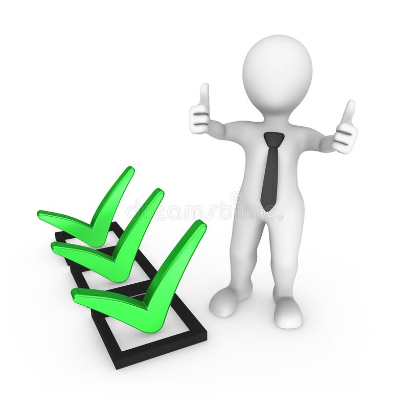 Green Tick And 3d Human With A Thumb Up Stock Illustration