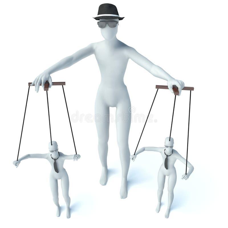 3D businessman handling their employees like marionettes.  stock illustration