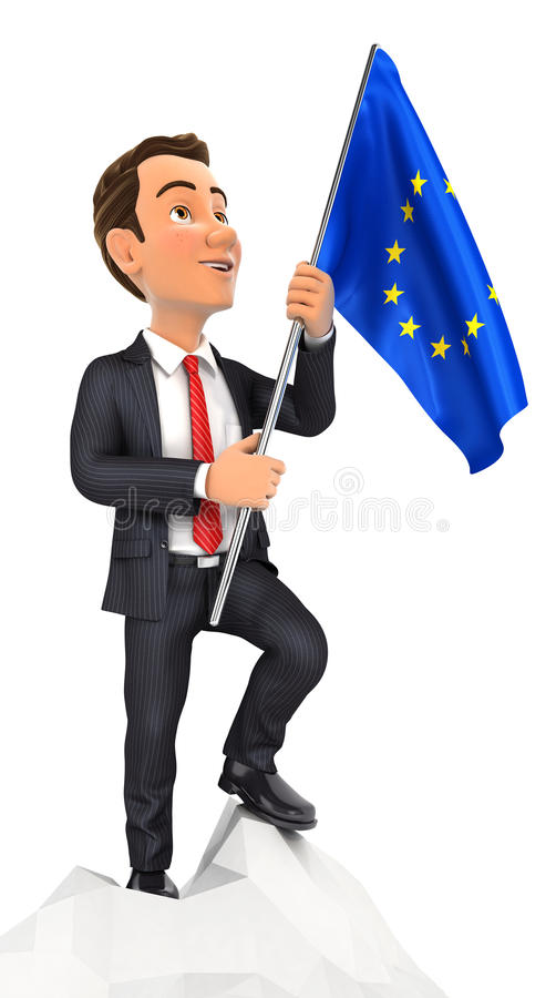 3d businessman holding european flag on top of mountain royalty free illustration