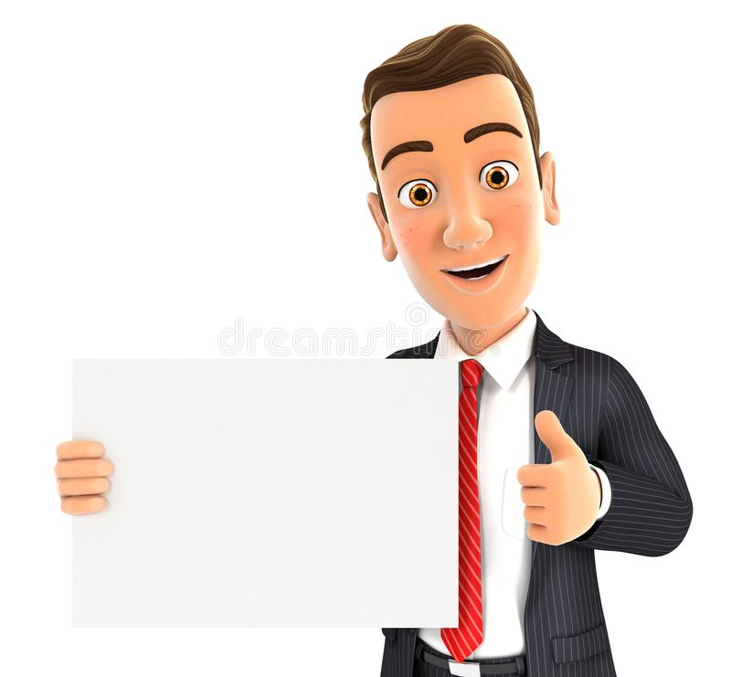 3d businessman holding placard with thumb up stock illustration