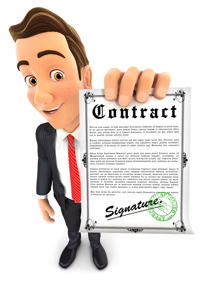 3d businessman holding signed contract royalty free illustration