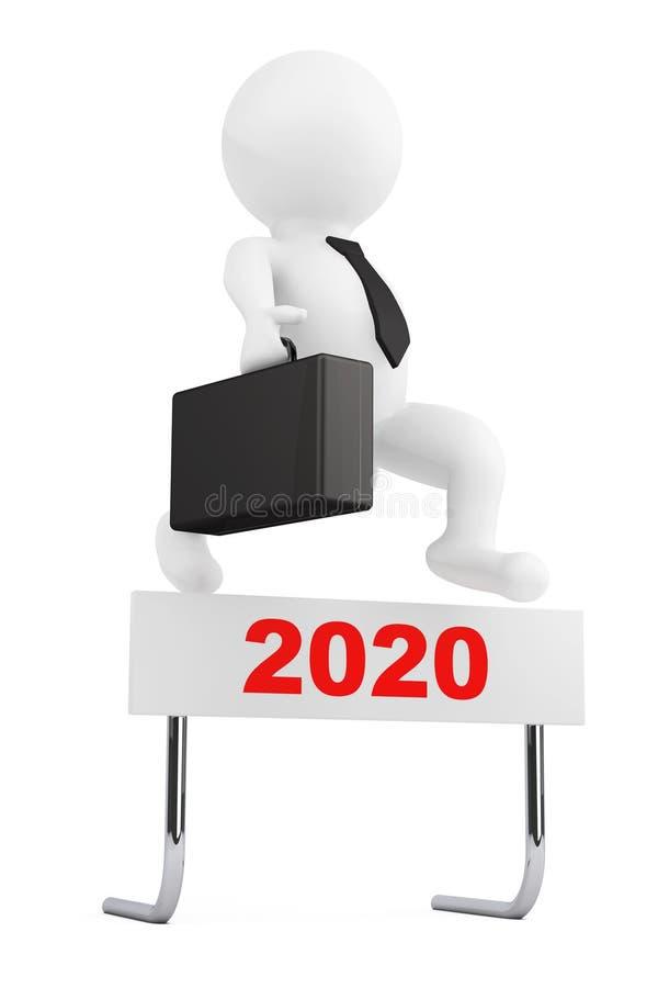 3d Businessman jump over the 2020 Year Barrier. 3d Rendering vector illustration