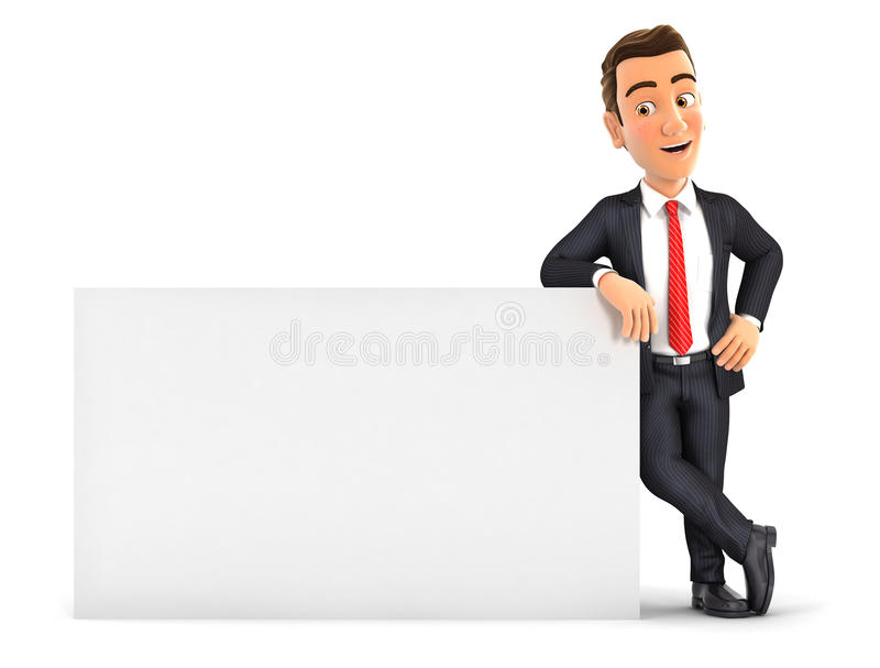 3d businessman leaning against white wall stock illustration