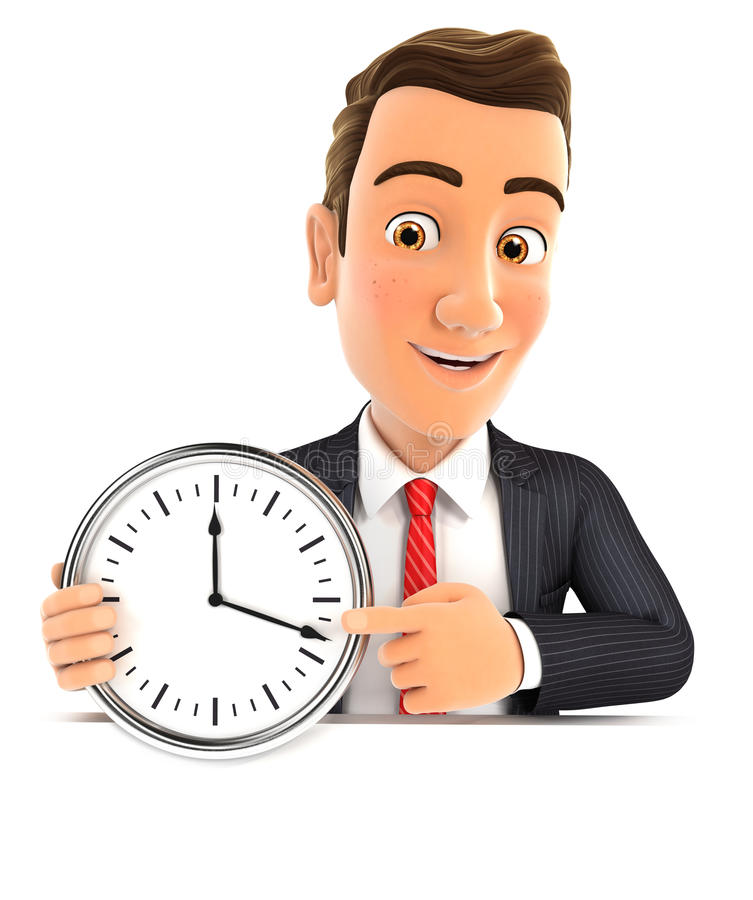 3d businessman pointing on a wall clock stock illustration