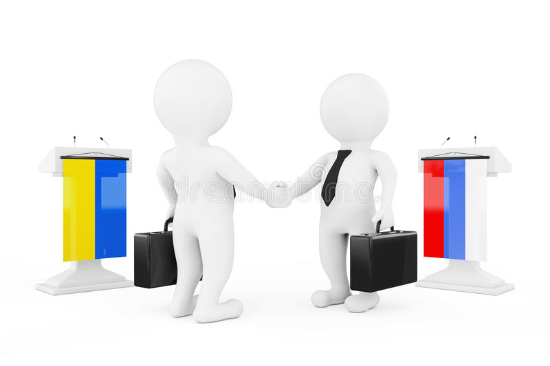 3d Businessman or Politicians Characters Shaking Hands near Tribunes with Russian and Ukraine Flags. 3d Rendering royalty free illustration