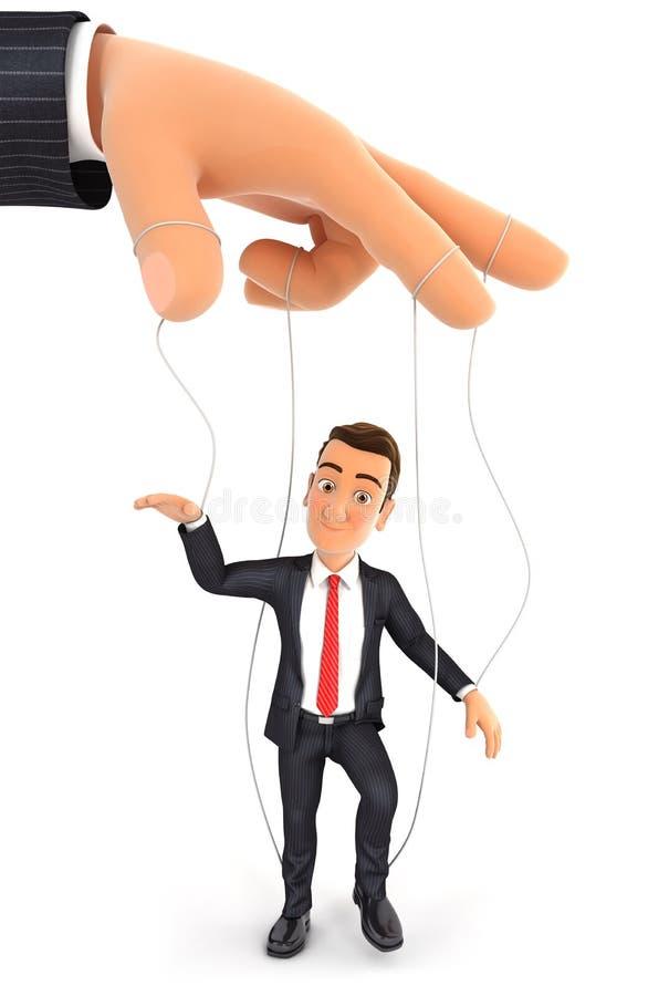 3d businessman puppet concept royalty free illustration