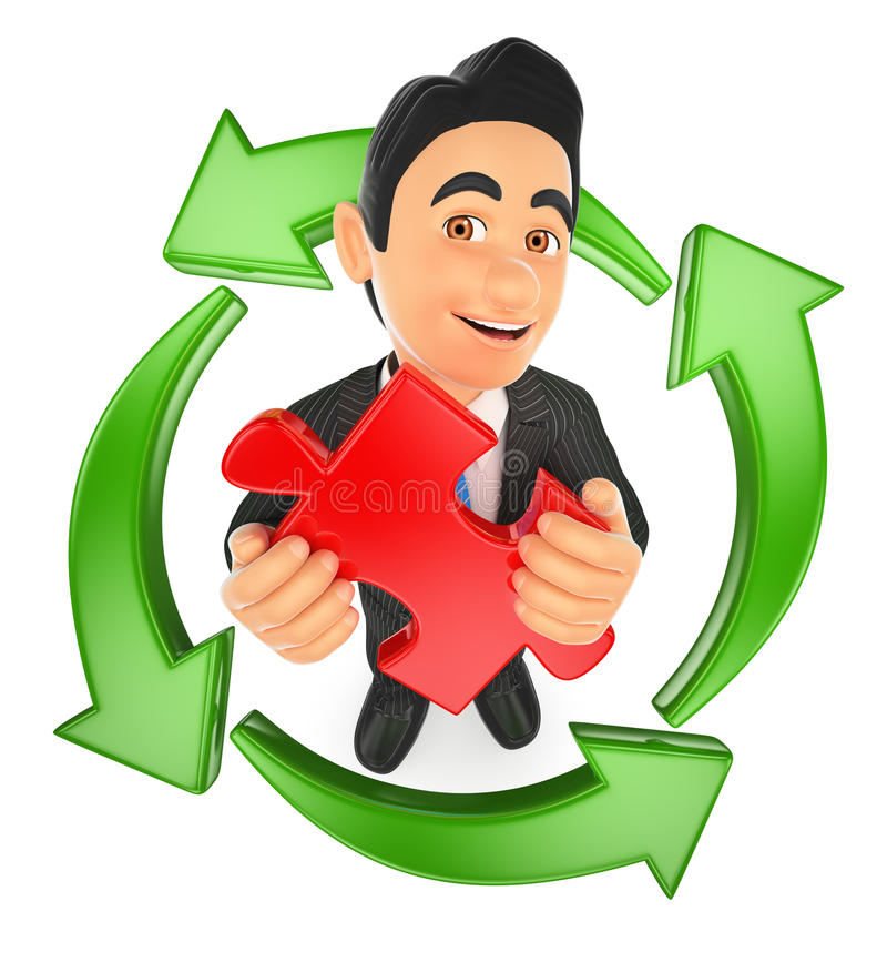 3D Businessman with a puzzle piece and green arrows around. Reusing ideas vector illustration