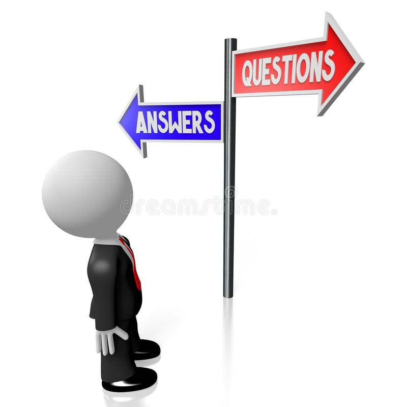 3D businessman - questions and answers signpost vector illustration