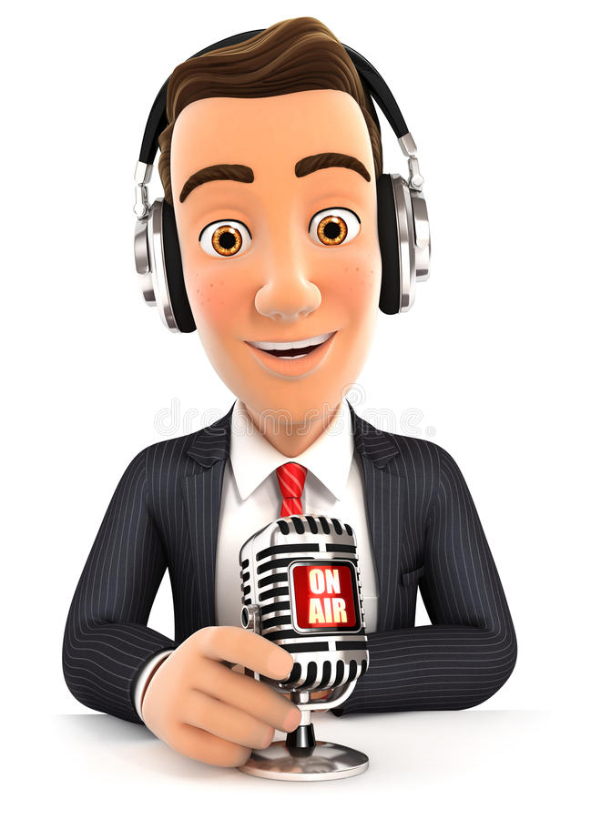 3d businessman radio presenter on air. White background vector illustration