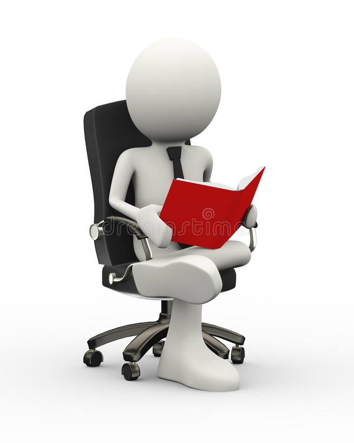3d Businessman Reading Book On Armchair Stock Illustration