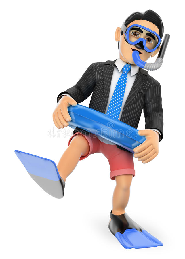 3D Businessman thinking in holidays with diving goggles fins and stock illustration