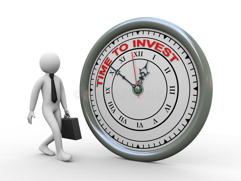 3d businessman time to invest clock royalty free illustration