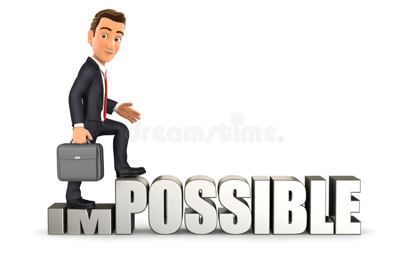 3d businessman turning impossible into possible. Isolated white background royalty free illustration