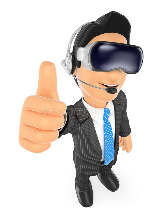 3D Businessman with virtual reality glasses. VR. 3d business people. Businessman with virtual reality glasses. VR. White background vector illustration