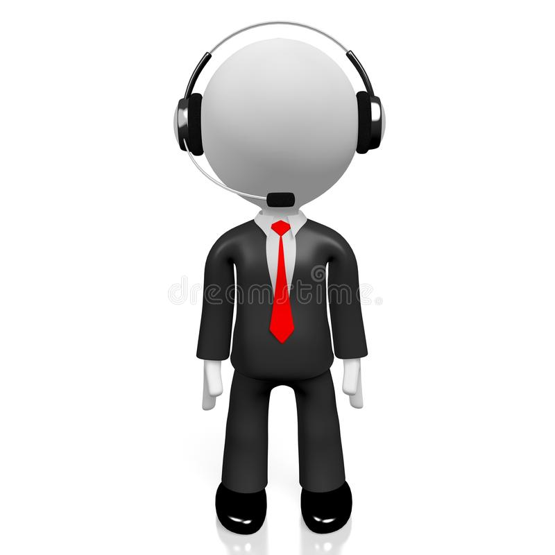 3D businessman - call center concept royalty free stock photos