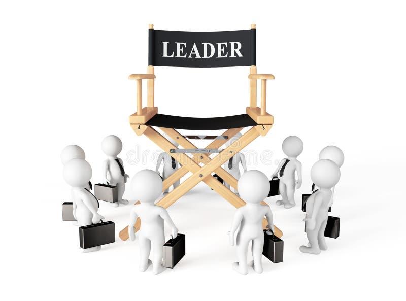 3d Businessmans em torno do diretor Líder Chair ilustração stock