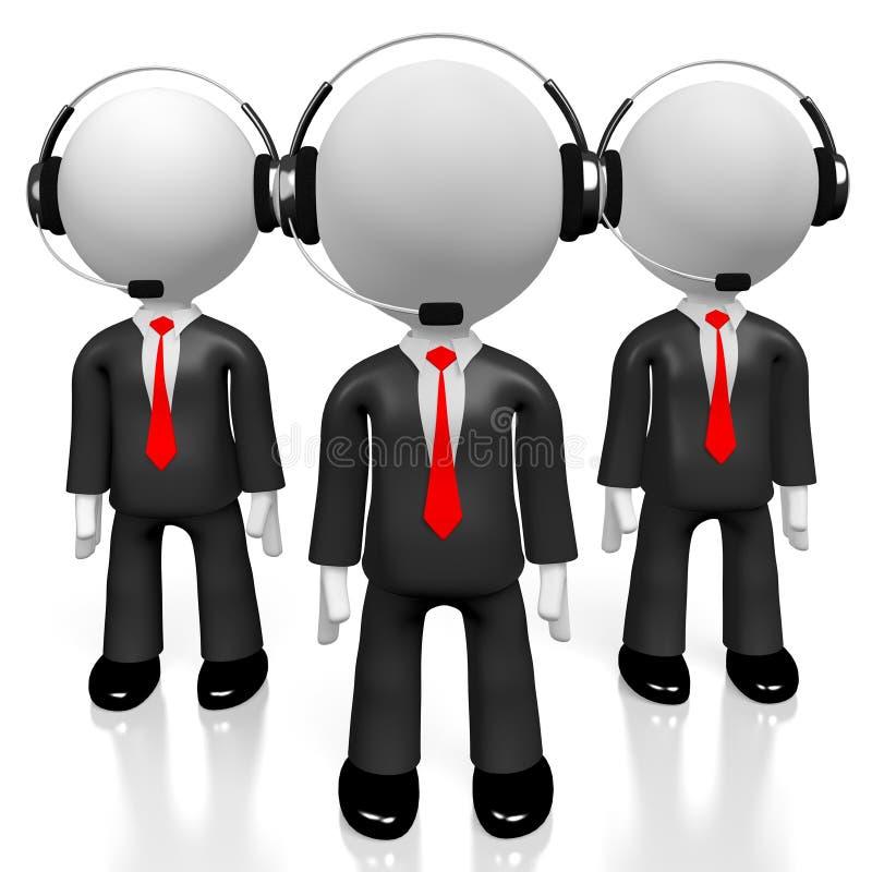 3D businessmen - call center concept stock illustration