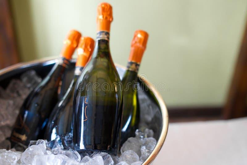3d butelki modelują biały wino obraz stock