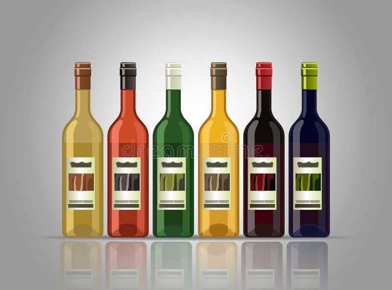 3d butelki modelują biały wino ilustracji