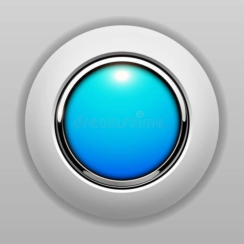 3D button blue vector illustration