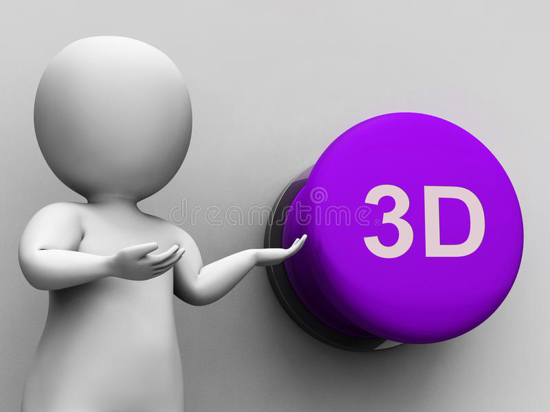 3d Button Means Three Dimensional Object Or Image. 3d Button Meaning Three Dimensional Object Or Image stock illustration