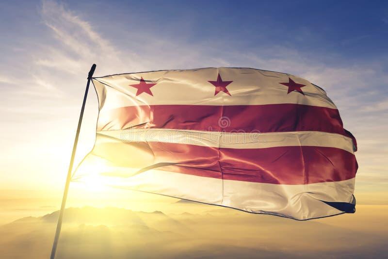 d c domu white Waszyngton C Dystrykt Kolumbii Stany Zjednoczone flagi tkaniny tekstylny sukienny falowanie na odgórnej wschód sło royalty ilustracja