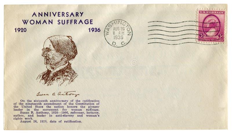 d c domu white Waszyngton C USA - 26 1936 Sierpień: USA dziejowa koperta: pokrywa z dystynkcji kobiety prawa wyborczego Susan Roc obraz royalty free