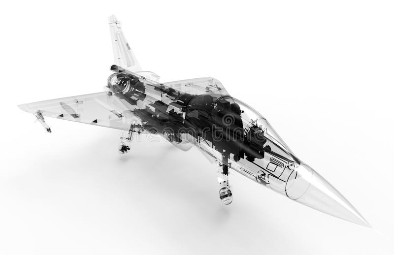 3D CAD model of a military fighter aircraft royalty free illustration
